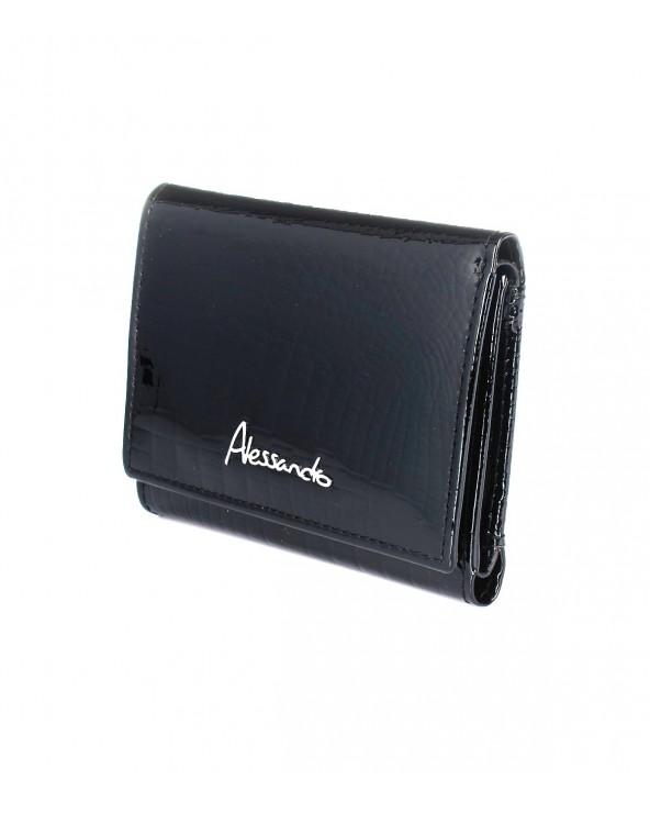 Mały damski portfel skórzany Alessandro Paoli czarny