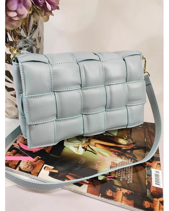 Pleciona torebka a'la Bottega Veneta skóra naturalna błękitna