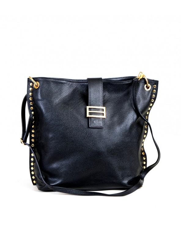 Skórzana torebka Laura Biaggi z nitami blaszka czarna
