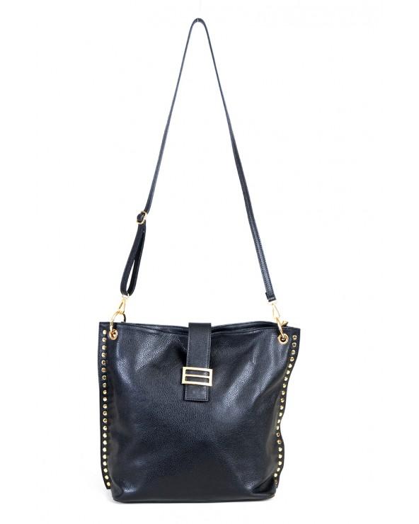 Skórzana torebka Laura Biaggi z blaszka nitami czarna