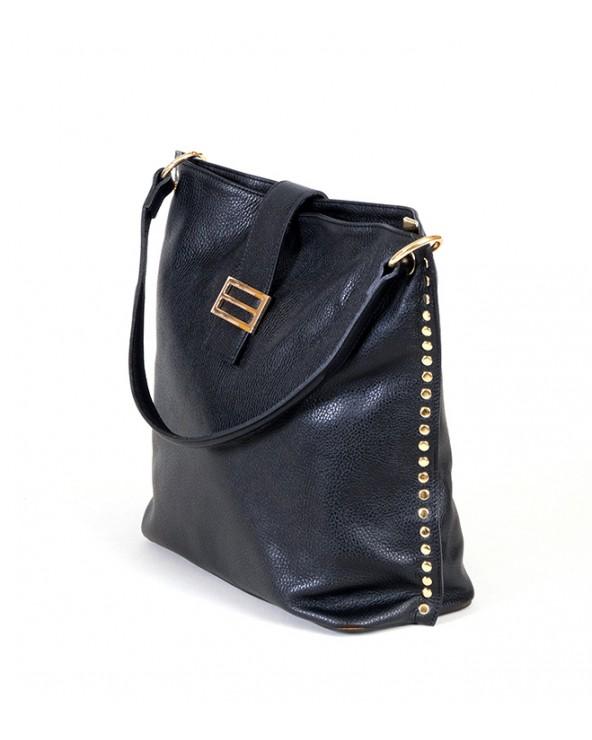 Skórzana torebka Laura Biaggi z nitami czarna bok