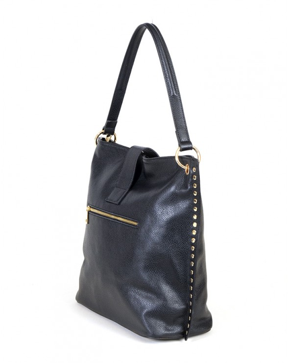 Skórzana torebka Laura Biaggi z nitami czarna tył