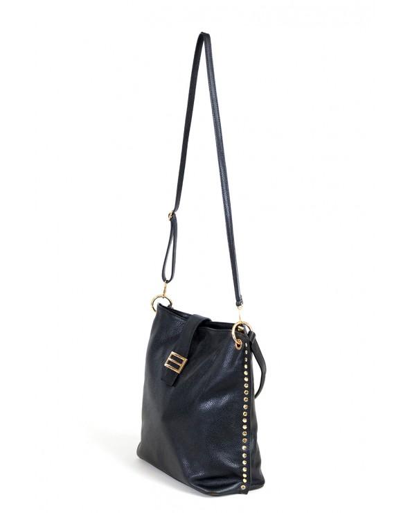 Skórzana torebka Laura Biaggi z nitami czarna bok długi pasek