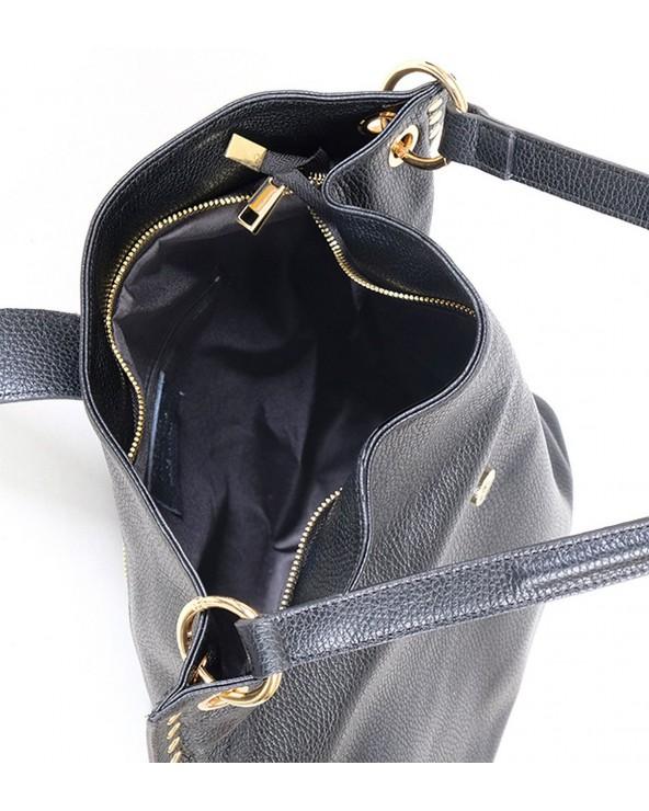 Skórzana torebka Laura Biaggi z nitami czarna wnętrze