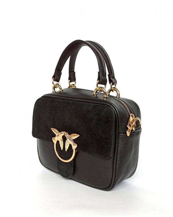 Skórzana torebka mały kuferek a'la Pinko czarny