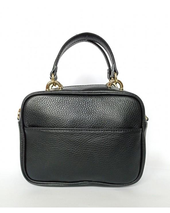 Skórzana torebka mały kuferek a'la Pinko czarny tył