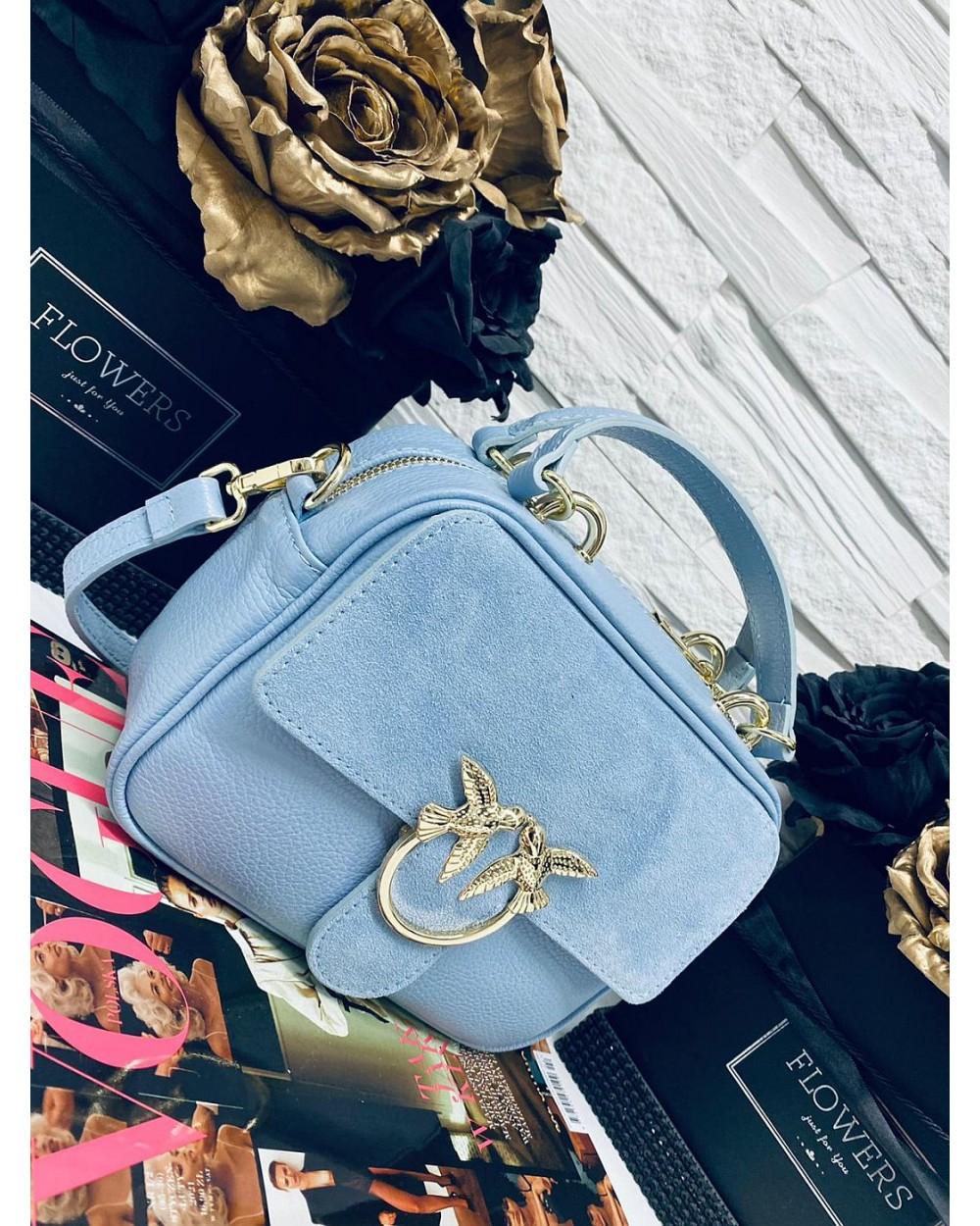 Skórzana torebka mały kuferek Swallow błękitny
