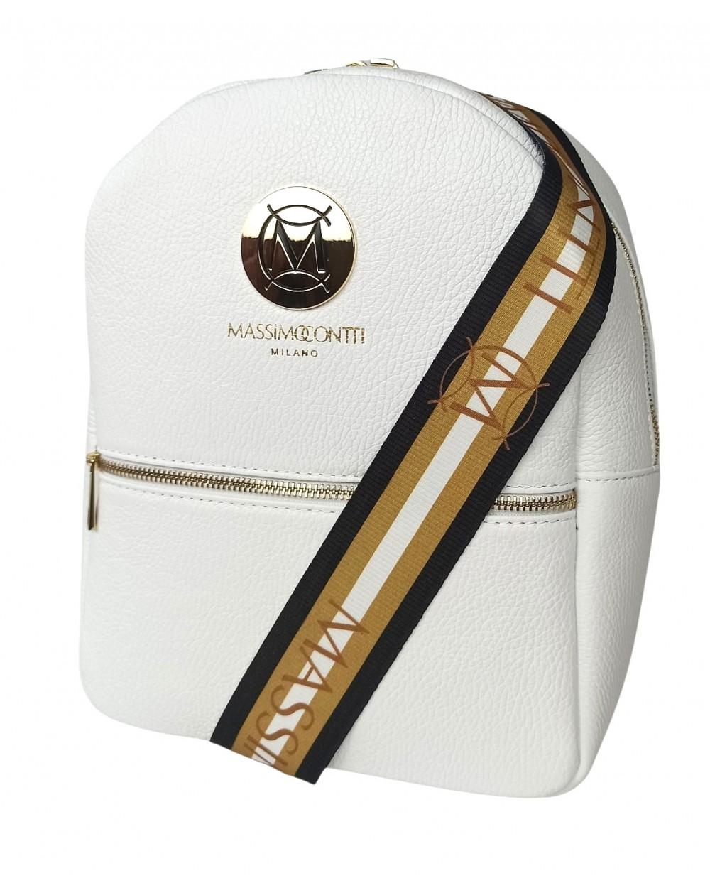 Plecak damski Massimo Contti ze skóry naturalnej biały kolorowe szelki