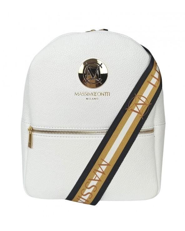 kolorowe szelki Plecak Massimo Contti ze skóry naturalnej biały