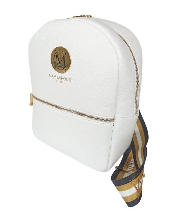 kolowe szelki Plecak damski Massimo Contti ze skóry naturalnej biały