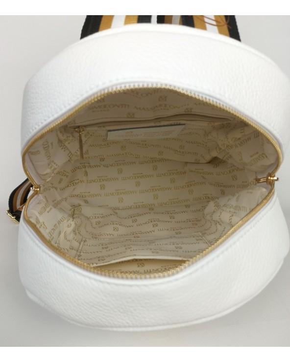wnętrze Plecak damski Massimo Contti ze skóry naturalnej biały