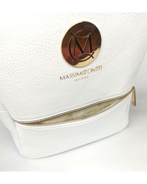 kieszonka logowane wnetrze Plecak damski Massimo Contti ze skóry naturalnej biały