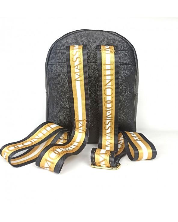 tył plecaka Massimo Contti ze skóry naturalnej czarny