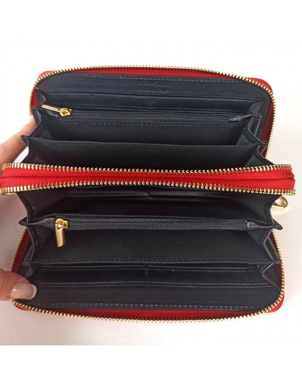 wnetrze portfel damskiego skorzanego tous mis czerwony