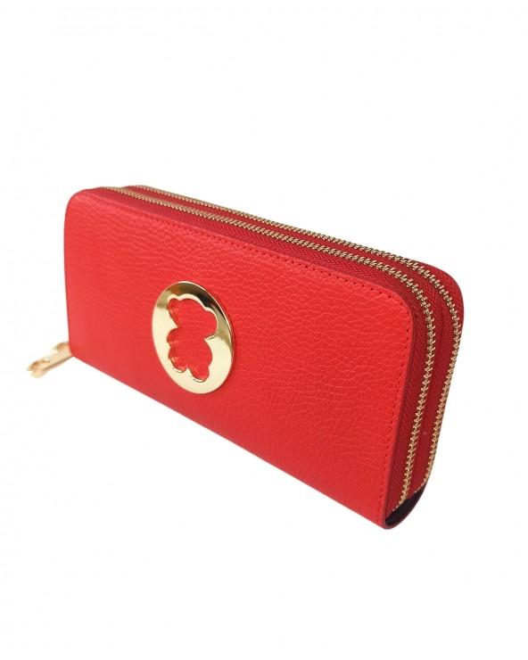 portfel mis tous 2 zamki skorzany czerwony