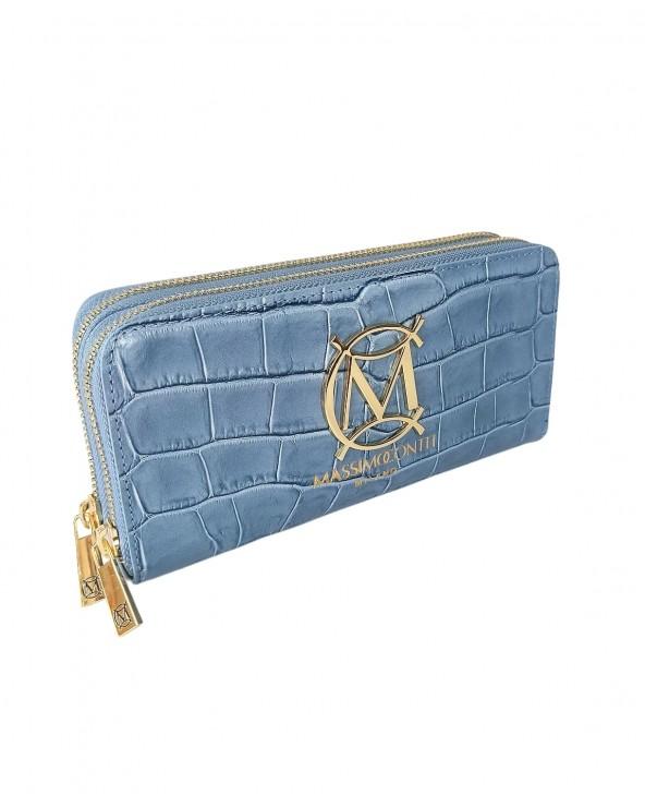 Duży damski portfel skórzany Massimo Contti 2 suwaki krokodyl błękitny