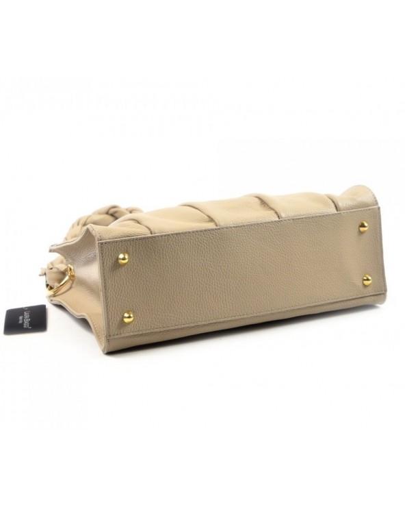 spód Laura Biaggi torebka z plecioną rączką beżowa