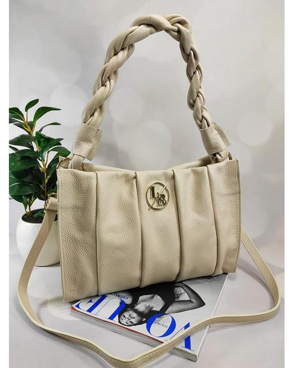 skórzana torebka Laura Biaggi z plecioną rączką beżowa