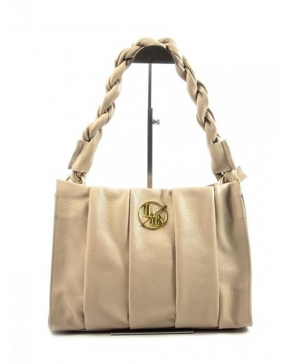 torebka Laura Biaggi z plecioną rączką beżowa