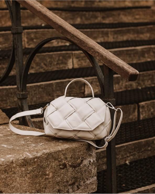 luksusowa Skórzana torebka a'la Bottega Veneta pleciona z rączką ecru jasny beż
