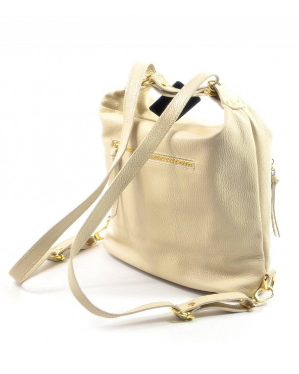tył Laura Biaggi skórzana torebka worek plecak 2 w 1 biała