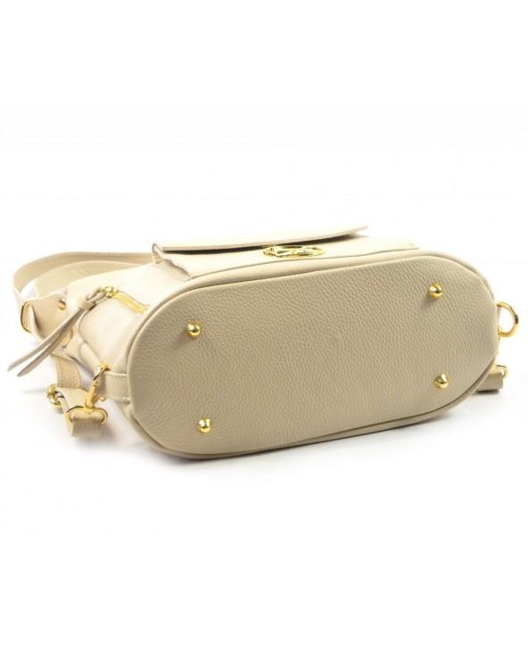spód Laura Biaggi skórzana torebka worek plecak 2 w 1 biała