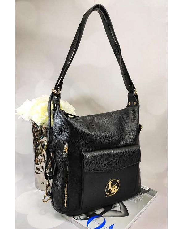 skórzana torebka Laura Biaggi worek plecak 2 w 1 czarna