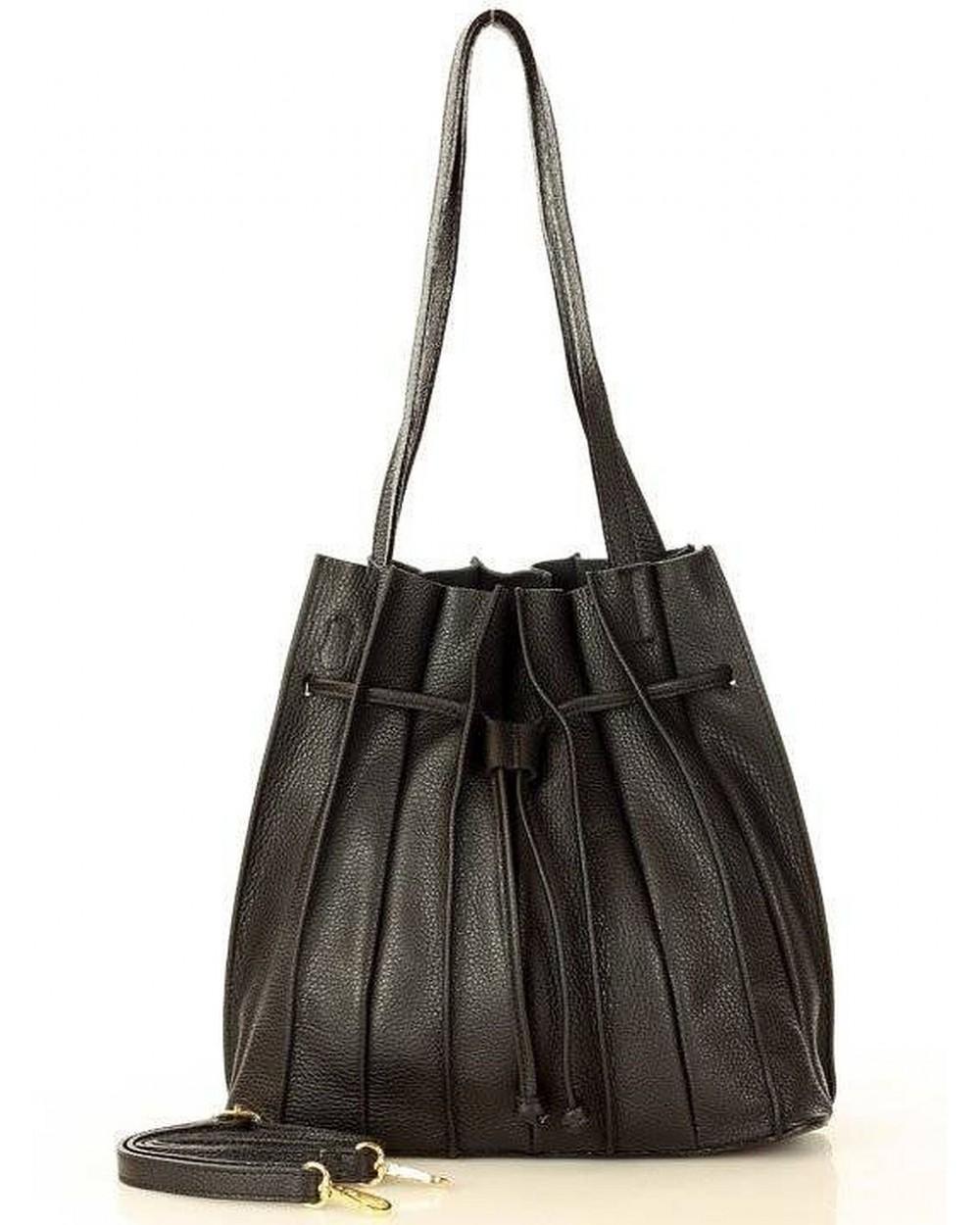 Laura Biaggi plisowana torebka worek skórzany czarny