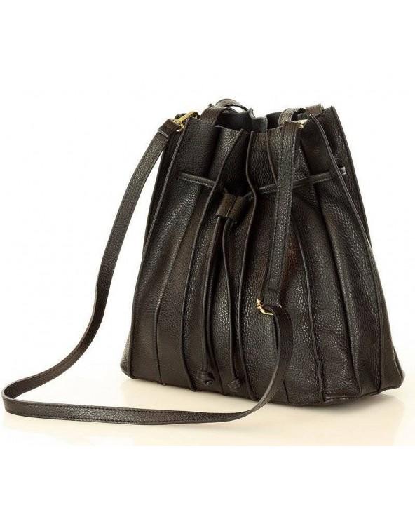 plisowana torebka worek skórzany czarny Laura Biaggi
