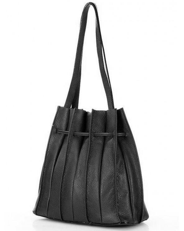 tył Laura Biaggi plisowana torebka worek skórzany czarny