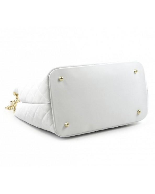 spód Pikowana torebka skórzana Laura Biaggi czarna