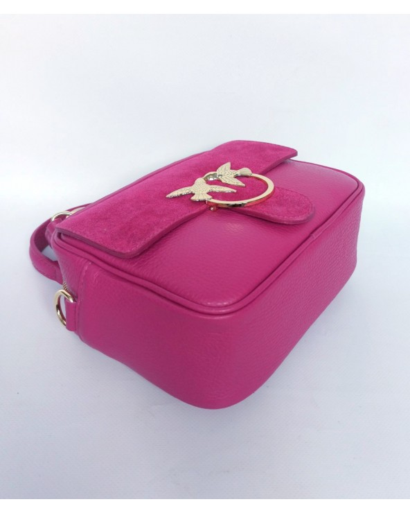 spód Skórzana torebka mały kuferek Swallow fuksja