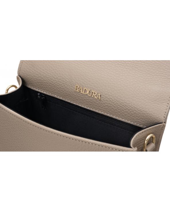 Badura elegancka listonoszka z klapką Badura beżowa logo marki wewnątrz