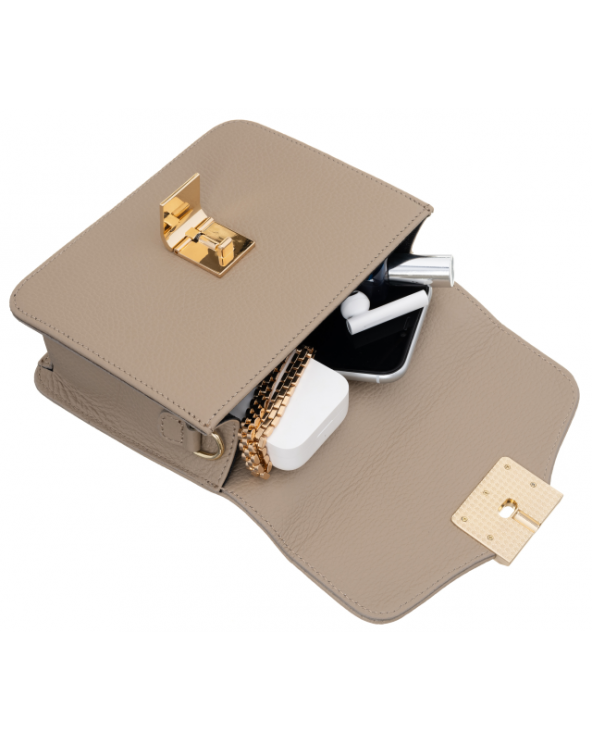 Badura skórzana torebka elegancka listonoszka z klapką Badura beżowa