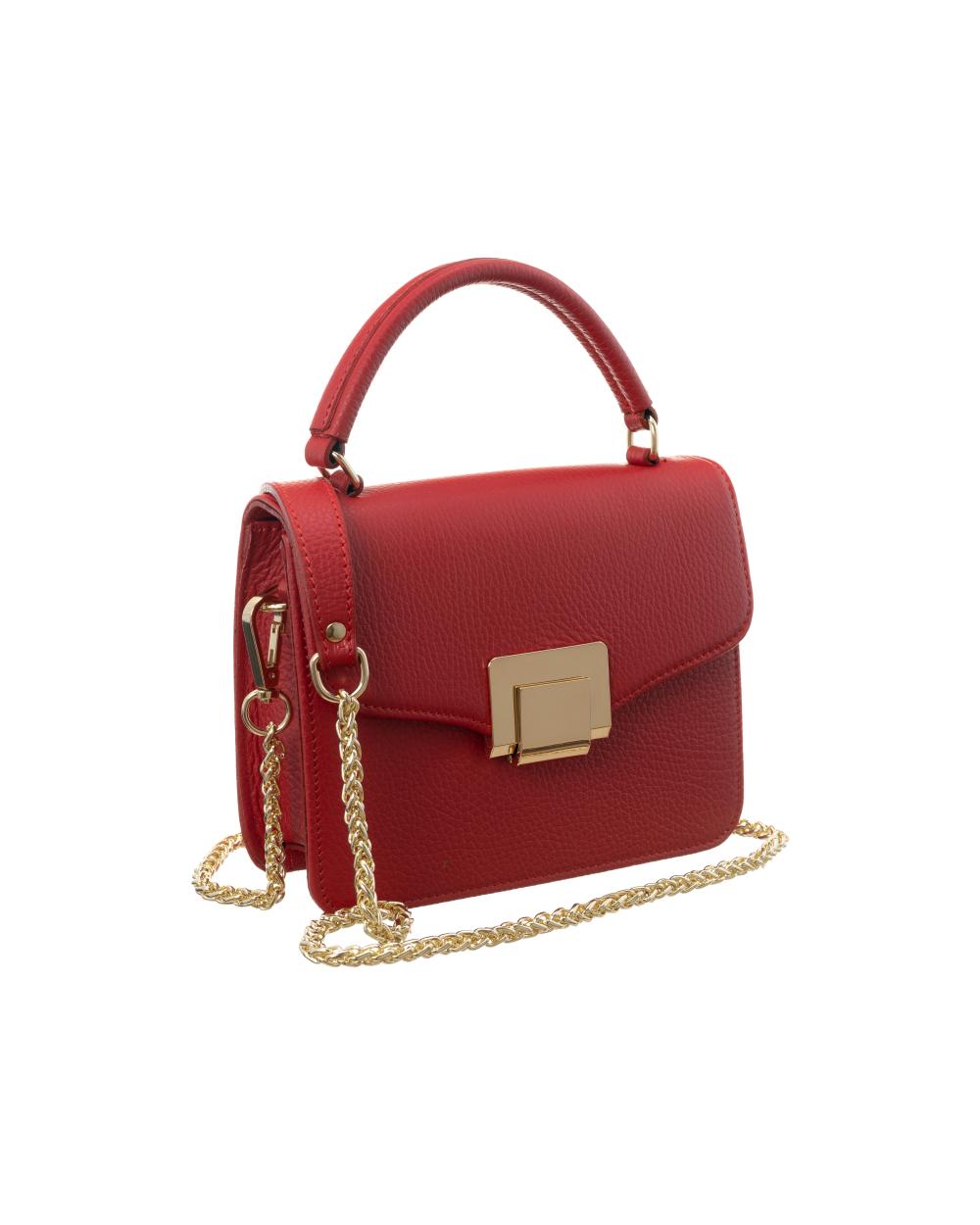 Badura elegancka listonoszka z klapką czerwona