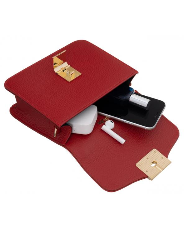 Badura elegancka listonoszka z klapką czerwona środek