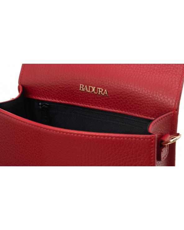 Badura elegancka listonoszka z klapką czerwona wnętrze