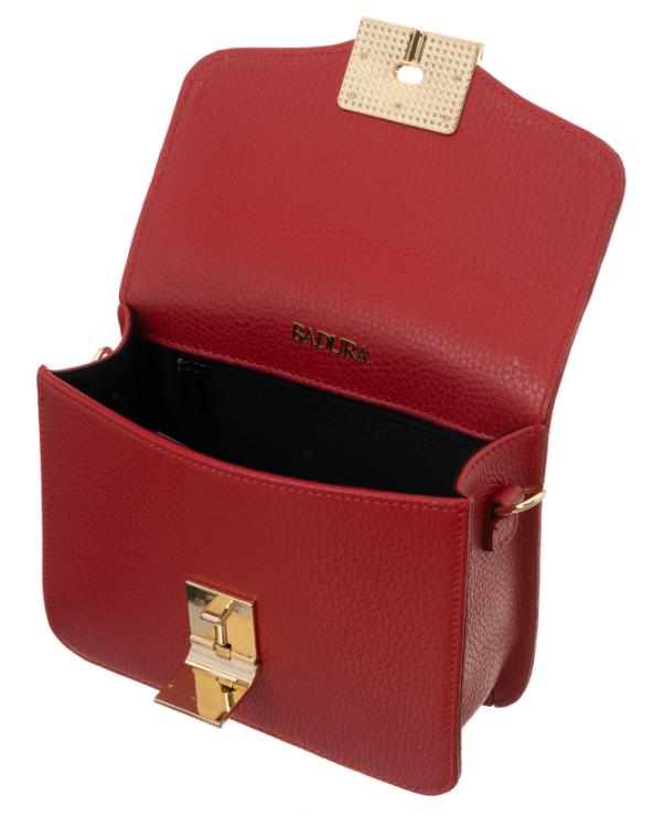 Badura elegancka listonoszka z klapką czerwona otwarta wnętrze