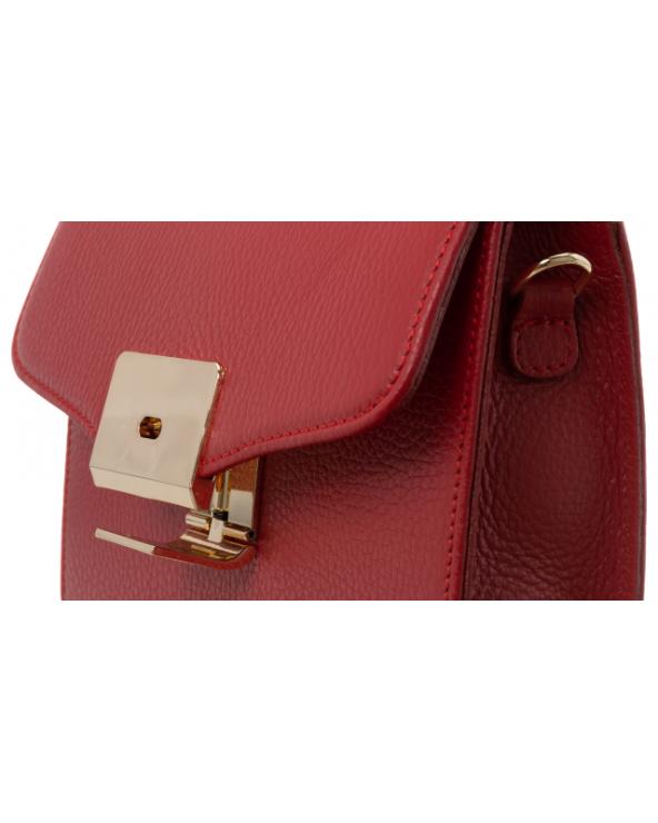 Badura elegancka listonoszka z klapką czerwona zamek