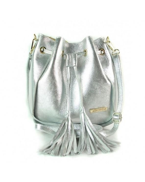Torebka mały worek skórzany srebrny