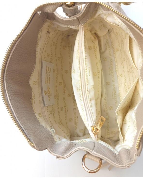 wnętrze Torebka Massimo Contti frędzelkami i kolorowym paskiem beżowa