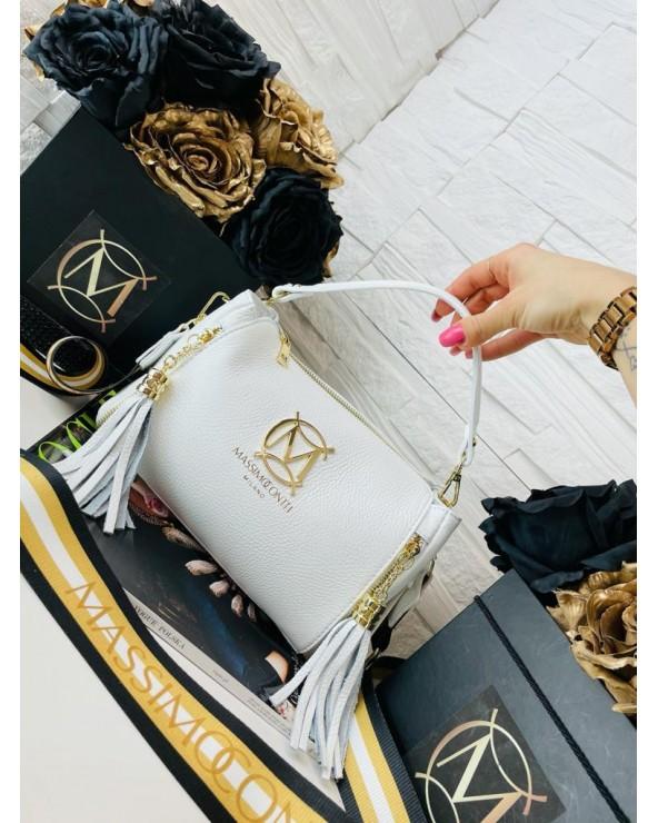 Torebka Massimo Contti kuferek listonoszka z frędzelkami i kolorowym paskiem biała