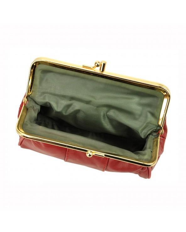 Portfel babcinka skórzany z biglem czarny wnętrze