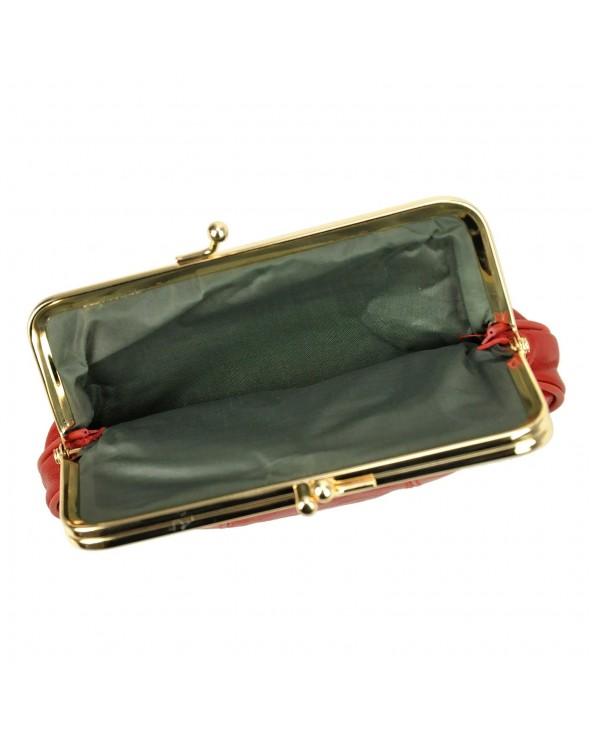 Babcinka Damski portfel skórzany z biglem czerwony wnetrze