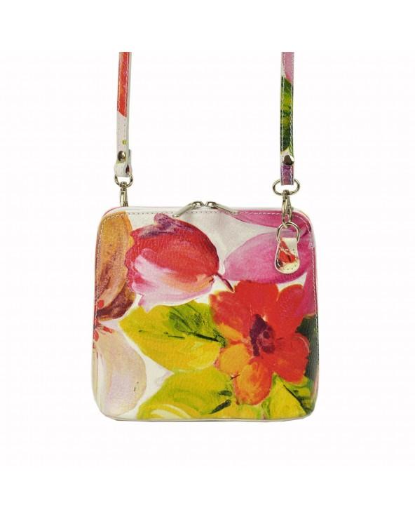 Mała włoska listonoszka w kwiaty vera pelle różowo-zielona