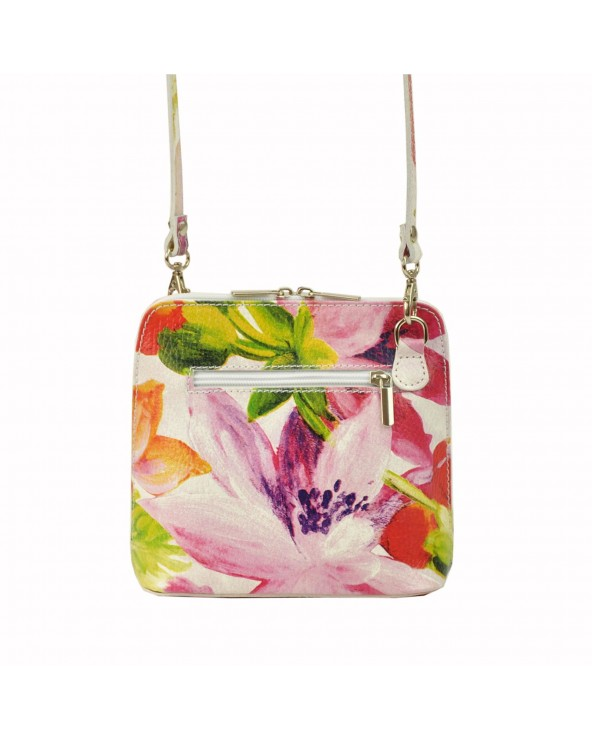 tył Mała włoska listonoszka w kwiaty vera pelle różowo-zielona