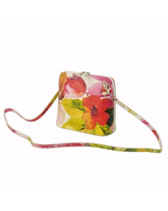 włoska listonoszka w kwiaty vera pelle różowo-zielona