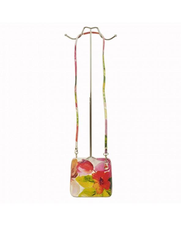 listonoszka torebka w kwiaty vera pelle różowo-zielona