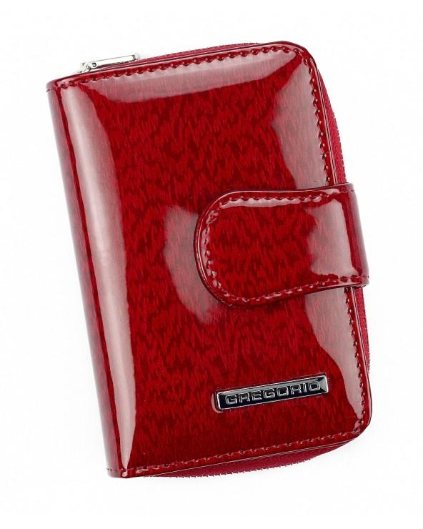 Skórzany portfel damski z zapinką czerwony