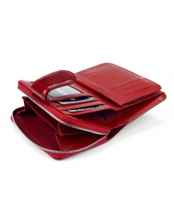 miejsce na monety bilob Skórzany portfel damski z zapinką czerwony